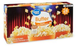 Great Value Butter Flavored Microwave Popcorn, 57.64 oz, 24 Count