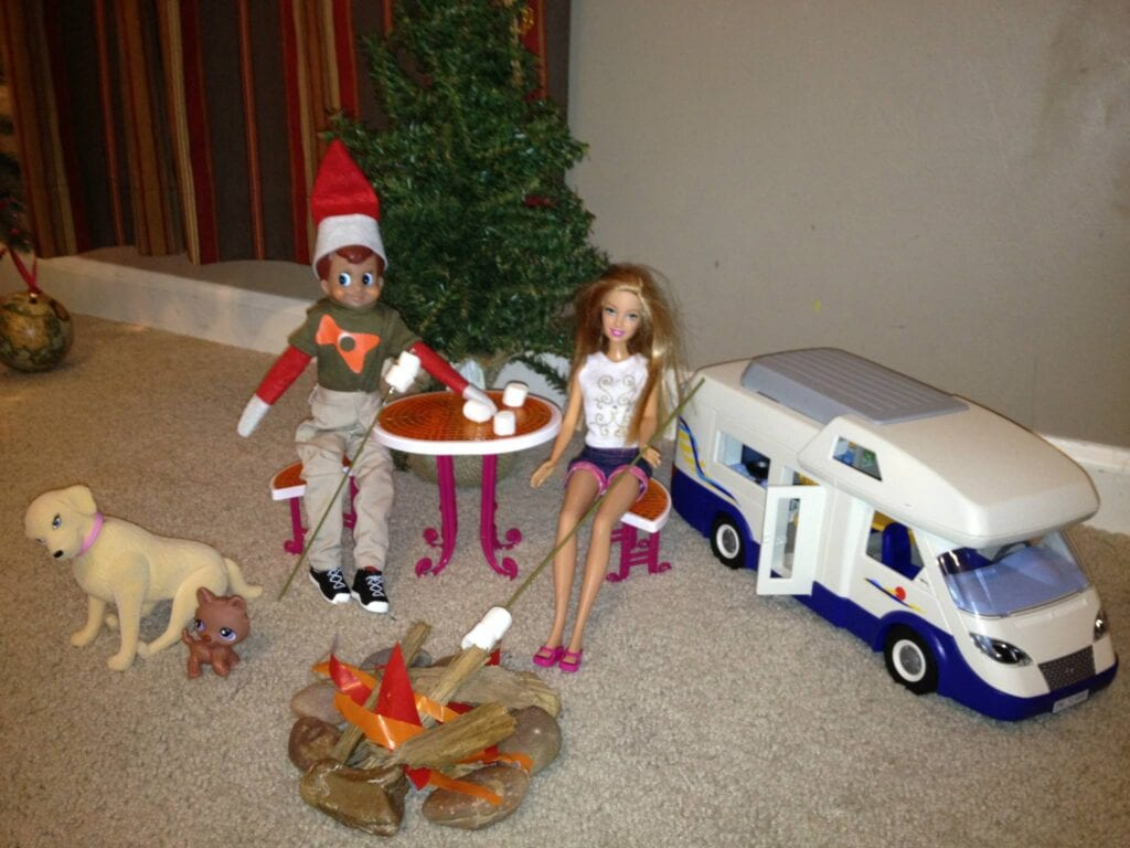 Elf and Barbie camping