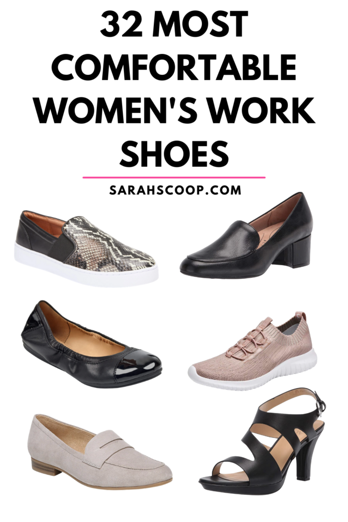 Pinterest image for most comfortable women's work shoes