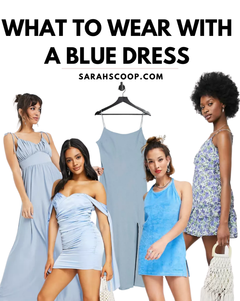 how to style a blue dress for summer pinterest image