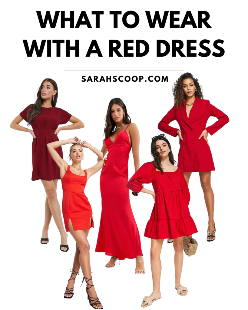 what to wear with a red dress pinterest