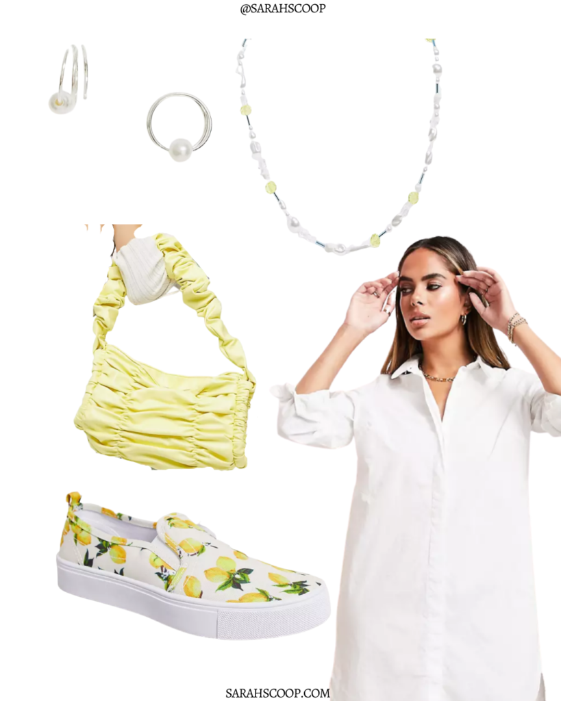 style a white dress for summer shirt dress pop of color