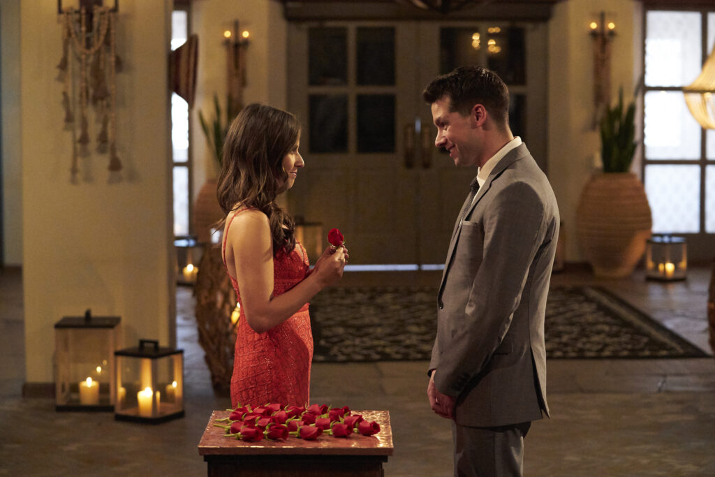 the bachelorette: michael allio getting a rose from Katie at the first rose ceremony