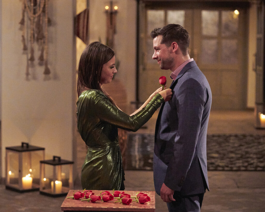 the bachelorette michael allio getting a rose from katie thurston