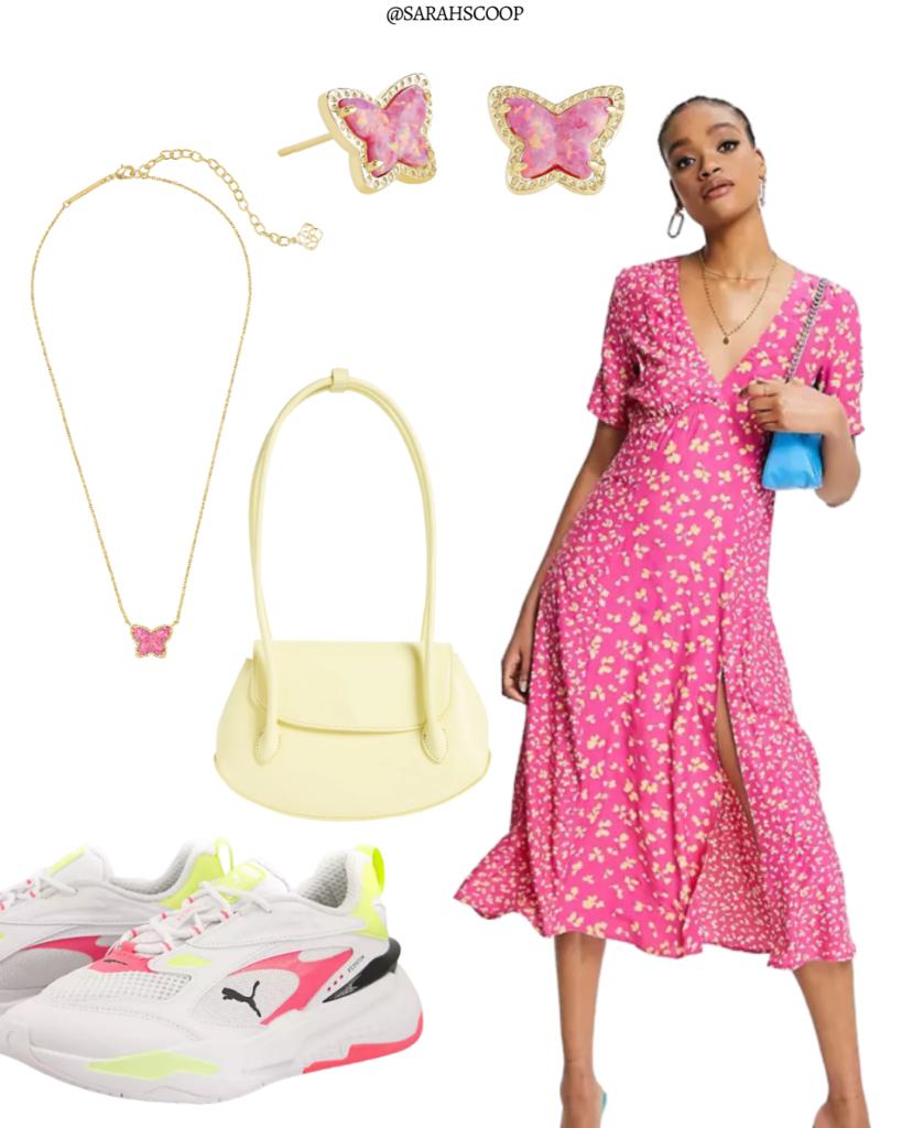 pink butterfly maxi dress