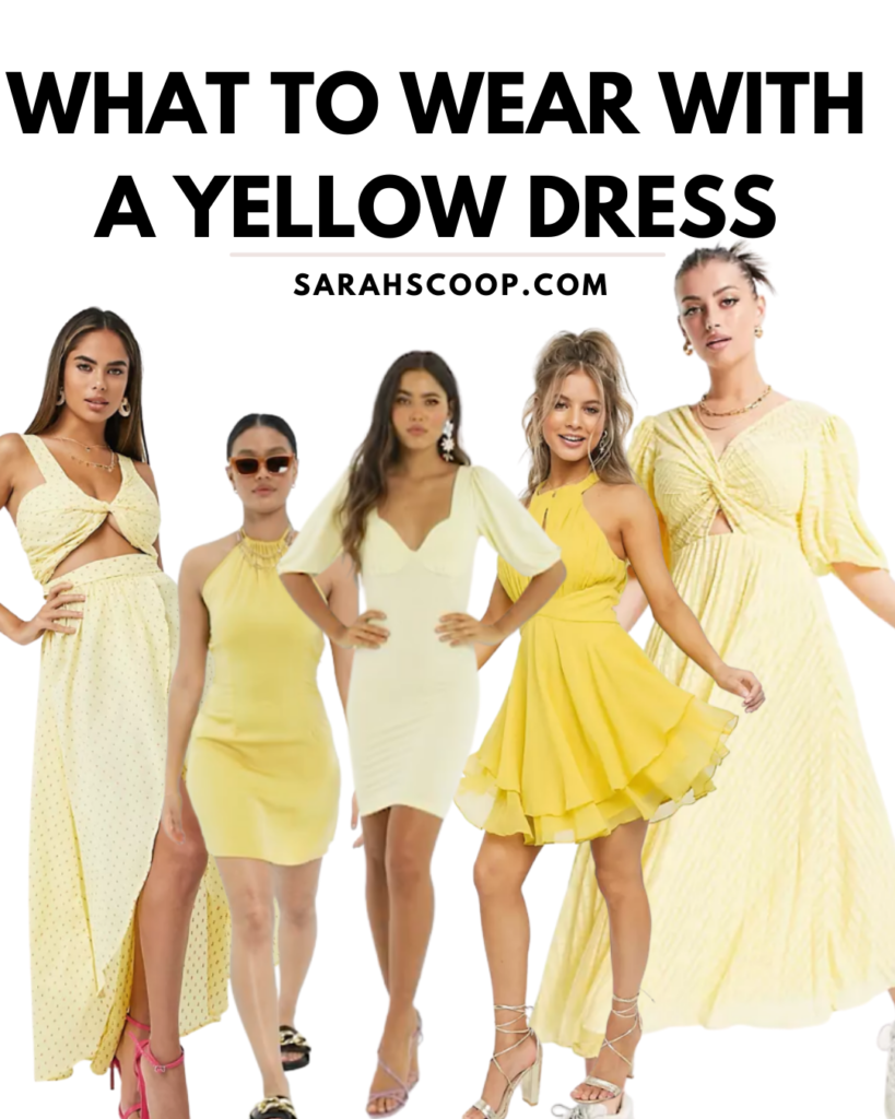 what to wear with yellow dress pinterest image