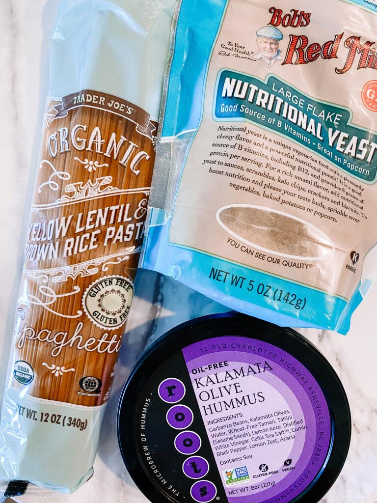 3 ingredient vegan hummus pasta ingredients