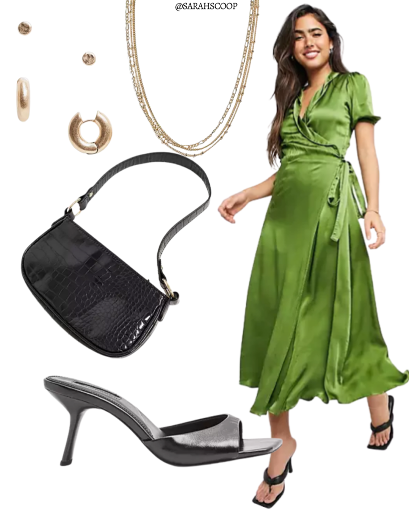 green wrap midi dress