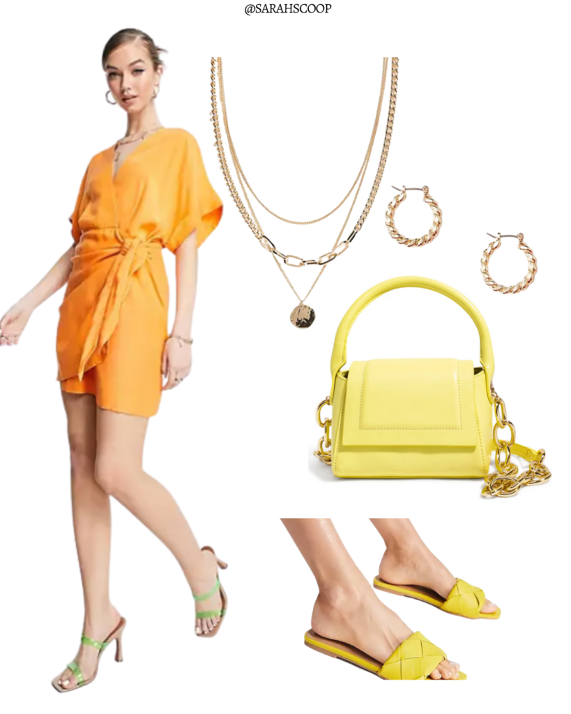 orange wrap mini dress