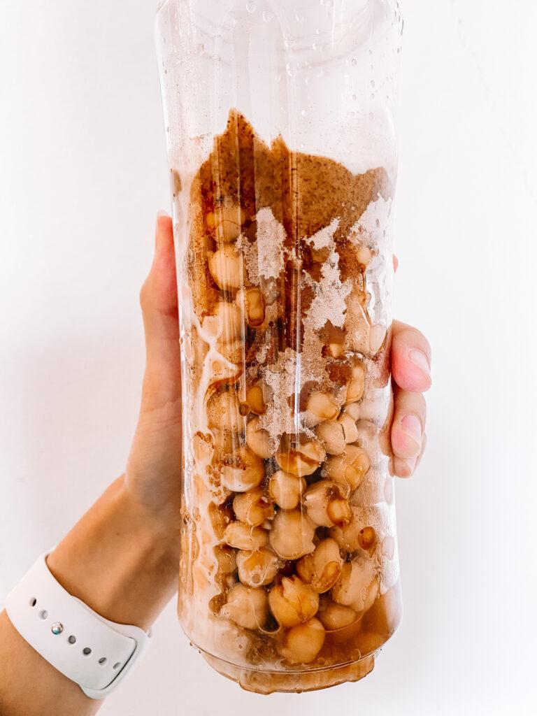 vegan chocolate chip cookie dough dip ingredients in blender